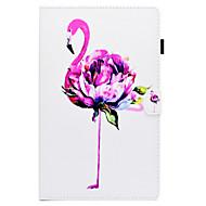 Недорогие Чехлы и кейсы для Galaxy Tab E 9.6-Кейс для Назначение SSamsung Galaxy Tab E 9.6 Бумажник для карт / со стендом / Флип Чехол Фламинго Твердый Кожа PU для Tab E 9.6