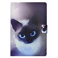 olcso Samsung Tab tokok-Case Kompatibilitás Samsung Galaxy Tab E 9.6 Tab A 10.1 (2016) Kártyatartó Állvánnyal Flip Minta Héjtok Cica Kemény PU bőr mert Tab 3