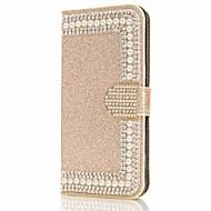 Недорогие Чехлы и кейсы для Galaxy S7-Кейс для Назначение SSamsung Galaxy S9 S9 Plus Бумажник для карт Кошелек Стразы со стендом Флип Магнитный Чехол Цветы Сияние и блеск