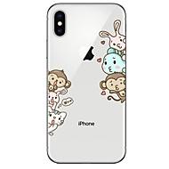 Недорогие Кейсы для iPhone 8-Кейс для Назначение Apple iPhone X iPhone 8 Ультратонкий Прозрачный С узором Кейс на заднюю панель Мультипликация Животное Мягкий ТПУ для