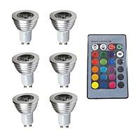 お買い得  LED スポットライト-6本 3W 280lm GU10 LEDスポットライト 1 LEDビーズ 調光可能 装飾用 リモコン操作 RGB 200-240V