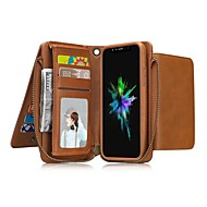 Недорогие Кейсы для iPhone 8 Plus-Кейс для Назначение Apple iPhone X iPhone 8 Бумажник для карт Кошелек Защита от удара со стендом Флип Чехол Сплошной цвет Твердый Кожа PU