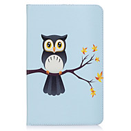Недорогие Чехлы и кейсы для Galaxy Tab E 9.6-Кейс для Назначение SSamsung Galaxy Tab E 9.6 Бумажник для карт Кошелек со стендом С узором Авто Режим сна / Пробуждение Чехол Сова