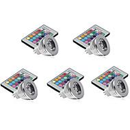 お買い得  LED スポットライト-5個 3W 250lm MR16 LEDスポットライト 1 LEDビーズ ハイパワーLED 調光可能 装飾用 リモコン操作 RGB 12V