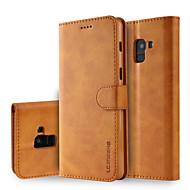 Недорогие Чехлы и кейсы для Galaxy А-Кейс для Назначение SSamsung Galaxy A8 2018 A8 Plus 2018 Бумажник для карт Кошелек со стендом Флип Чехол Однотонный Твердый Кожа PU для