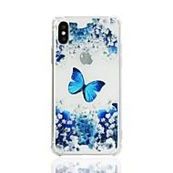 Недорогие Кейсы для iPhone 8 Plus-Кейс для Назначение Apple iPhone X iPhone 8 Защита от удара Прозрачный С узором Кейс на заднюю панель Бабочка Мягкий ТПУ для iPhone X