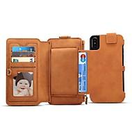 Недорогие Кейсы для iPhone 8 Plus-Кейс для Назначение Apple iPhone X iPhone 8 Бумажник для карт Кошелек Флип Магнитный Чехол Однотонный Твердый Настоящая кожа для iPhone X