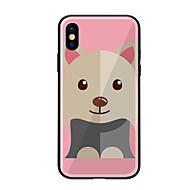 Недорогие Кейсы для iPhone 8 Plus-Кейс для Назначение Apple iPhone X iPhone 8 С узором Кейс на заднюю панель С собакой Твердый Закаленное стекло для iPhone X iPhone 8