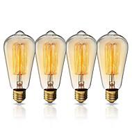 tanie Żarówki tradycyjne-KWB 1kpl 40W E26 / E27 ST64 Ciepłe Żółte 2200k Widok miasta Żarówka Vintage Edison żarówka 220-240V
