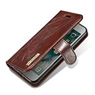 Недорогие Кейсы для iPhone 8 Plus-Кейс для Назначение Apple iPhone X iPhone 8 Бумажник для карт Флип Магнитный Чехол Однотонный Твердый Настоящая кожа для iPhone X iPhone
