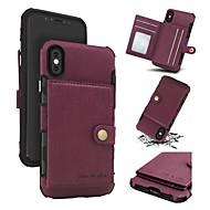 Недорогие Кейсы для iPhone 8 Plus-Кейс для Назначение Apple iPhone X iPhone 8 Бумажник для карт Кошелек Защита от удара Кейс на заднюю панель Однотонный Твердый Настоящая