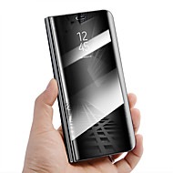 お買い得  携帯電話ケース-ケース 用途 Huawei Mate 10 lite Mate 10 pro 耐衝撃 スタンド付き ミラー オートスリープ/ウェイクアップ フルボディーケース ソリッド ハード PUレザー のために Mate 10 lite Mate 10 pro Mate 10 Mate
