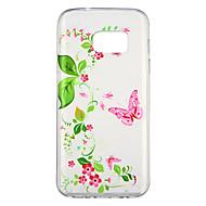 Недорогие Чехлы и кейсы для Galaxy S7-Кейс для Назначение SSamsung Galaxy S7 Прозрачный С узором Кейс на заднюю панель Бабочка Цветы Мягкий ТПУ для S7