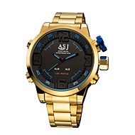 저렴한 -ASJ 남성용 스포츠 시계 디지털 시계 일본어 디지털 스테인레스 스틸 골드 50 m 알람 크로노그래프 스톱워치 아날로그-디지털 패션 - 레드 블루 1 년 배터리 수명 / SSUO SR626SW + CR2025