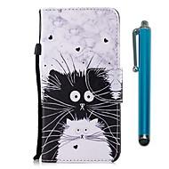 Недорогие Чехлы и кейсы для Galaxy S8-Кейс для Назначение SSamsung Galaxy S9 S9 Plus Бумажник для карт Кошелек со стендом Флип Магнитный Чехол Кот Твердый Кожа PU для S9 Plus