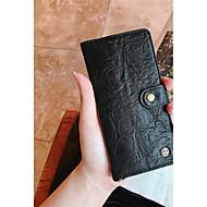Недорогие Чехлы и кейсы для Galaxy А-Кейс для Назначение SSamsung Galaxy A8 Plus 2018 / A8 2018 Кошелек / Бумажник для карт / Флип Чехол Однотонный Твердый Настоящая кожа для