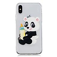 Недорогие Кейсы для iPhone 8 Plus-Кейс для Назначение Apple iPhone X / iPhone 8 Plus Прозрачный / С узором Кейс на заднюю панель Панда Мягкий ТПУ для iPhone X / iPhone 8