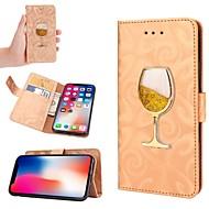 Недорогие Кейсы для iPhone 8-Кейс для Назначение Apple iPhone X / iPhone XS / iPhone XR Движущаяся жидкость Чехол Сияние и блеск Твердый Кожа PU для iPhone XS / iPhone XR / iPhone XS Max