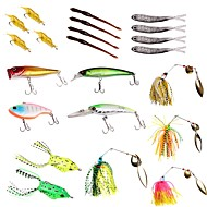 お買い得  釣り用アクセサリー-22pcs 個 ルアーパック スプーン バズベイト&スピナーベイト ソフトベイト ハードベイト プラスチック メタル 海釣り 川釣り ルアー釣り