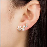 cheap -Women's Floral Leaf / Flower Imitation Pearl Stud Earrings - Floral / Fashion Gold / Silver Earrings For Daily / Street / Women's