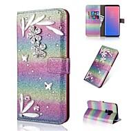 Недорогие Чехлы и кейсы для Galaxy S8-Кейс для Назначение SSamsung Galaxy S9 S9 Plus Бумажник для карт Кошелек Стразы Флип Сияние и блеск Чехол Градиент цвета Твердый Кожа PU