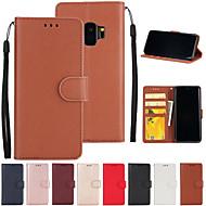 Недорогие Чехлы и кейсы для Galaxy S8-Кейс для Назначение SSamsung Galaxy S9 S7 edge Бумажник для карт Кошелек со стендом Флип Чехол Однотонный Твердый Кожа PU для S9 Plus S9