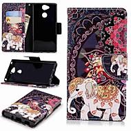 お買い得  携帯電話ケース-ケース 用途 Sony Xperia XA2 / Xperia L2 ウォレット / カードホルダー / スタンド付き フルボディーケース 象 ハード PUレザー のために Xperia XA2 / Xperia L2