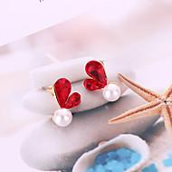 preiswerte -Damen 3D Ohrstecker - Künstliche Perle Herz Koreanisch, Süß, Modisch Grau / Rot Für Alltag
