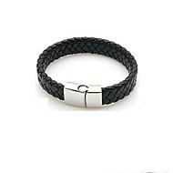 cheap -Men's Single Strand Bracelet - Leather Stylish, Vintage Bracelet Black For Daily