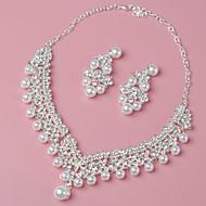 preiswerte -Damen Kronleuchter Schmuck-Set - Künstliche Perle Blume Europäisch, Modisch, Elegant Einschließen Halskette / Ohrring Silber Für Hochzeit / Party