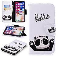 Недорогие Кейсы для iPhone 8 Plus-Кейс для Назначение Apple iPhone X / iPhone 8 Plus Кошелек / Бумажник для карт / со стендом Чехол Слова / выражения / Панда Твердый Кожа PU для iPhone X / iPhone 8 Pluss / iPhone 8