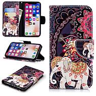 Недорогие Кейсы для iPhone 8 Plus-Кейс для Назначение Apple iPhone X / iPhone 8 Plus Кошелек / Бумажник для карт / со стендом Чехол Слон / Цветы Твердый Кожа PU для iPhone X / iPhone 8 Pluss / iPhone 8