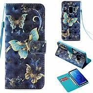 Недорогие Чехлы и кейсы для Galaxy S-Кейс для Назначение SSamsung Galaxy S9 Кошелек / Бумажник для карт / со стендом Чехол Бабочка Твердый Кожа PU для S9