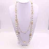 Dámské Dlouhé Dvojité vrstvené Náhrdelníky dlouhý náhrdelník Napodobenina perel Kytky dámy Klasické Módní Zlatá 56+5 cm Náhrdelníky Šperky 1ks Pro Denní