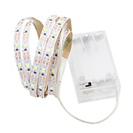 cheap -1m Flexible LED Light Strips 60 LEDs Warm White / White Cuttable / Decorative / Self-adhesive AA Batteries Powered 1pc
