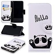 Недорогие Чехлы и кейсы для Galaxy А-Кейс для Назначение SSamsung Galaxy A8 2018 Кошелек / Бумажник для карт / Защита от удара Чехол Панда Твердый Кожа PU для A8 2018