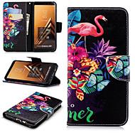Недорогие Чехлы и кейсы для Galaxy A5(2017)-Кейс для Назначение SSamsung Galaxy A6+ (2018) / A6 (2018) Кошелек / Бумажник для карт / со стендом Чехол Фламинго Твердый Кожа PU для A6
