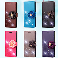 Недорогие Чехлы и кейсы для Galaxy J3(2016)-Кейс для Назначение SSamsung Galaxy J7 (2016) / J5 (2016) Кошелек / Бумажник для карт / Стразы Чехол Однотонный / Цветы Твердый Кожа PU