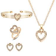 preiswerte -Damen Crossbody Schmuck-Set - Herz Europäisch, Modisch Einschließen Halskette / Ohrring / Armband Gold Für Party / Ring