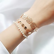 cheap Floral Jewelry-Women's Layered Chain Bracelet - Imitation Pearl Floral Theme Simple, Trendy, Fashion Bracelet Gold For Daily Going out / 3pcs