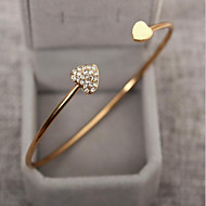 Women's Cubic Zirconia Bracelet Bangles Cuff Bracelet - Rhinestone, Gold Plated Heart, Love Ladies, Basic, Fashion Bracelet Jewelry Silver / Golden For Wedding Party Birthday Gift Daily