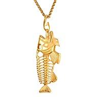 お買い得  -男性用 ペンダントネックレス  -  ステンレス鋼 観賞魚用 誇張, ファッション ゴールド, ブラック, シルバー 55 cm ネックレス ジュエリー 1個 用途 贈り物, ストリート