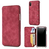 Недорогие Кейсы для iPhone 8-Кейс для Назначение Apple iPhone X / iPhone 8 Кошелек / Бумажник для карт / Флип Чехол Однотонный Твердый Настоящая кожа для iPhone X / iPhone 8 Pluss / iPhone 8