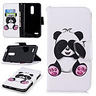 preiswerte Handyhüllen-Hülle Für LG K10 2018 Geldbeutel / Kreditkartenfächer / mit Halterung Ganzkörper-Gehäuse Panda Hart PU-Leder für LG K10 2018