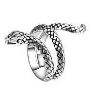 Herre Skulptur Statement Ring Ring indpakning ring Slange Dyr Vintage Punk Trendy Moderinge Smykker Sølv Til Karneval Natklub 7 / 8 / 9 / 10