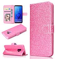 Недорогие Чехлы и кейсы для Galaxy S9 Plus-Кейс для Назначение SSamsung Galaxy S9 Plus / S9 Кошелек / Бумажник для карт / со стендом Чехол Однотонный / Сияние и блеск Твердый Кожа PU для S9 / S9 Plus