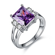 cheap Jewelry & Watches-Women's Cubic Zirconia Amethyst Hollow Out Ring - Platinum Plated, S925 Sterling Silver Vintage 6 / 7 / 8 / 9 Purple For Gift Birthday