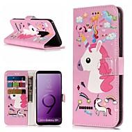 Недорогие Чехлы и кейсы для Galaxy S-Кейс для Назначение SSamsung Galaxy S9 Plus / S9 Кошелек / Бумажник для карт / со стендом Чехол единорогом Твердый Кожа PU для S9 / S9 Plus / S8 Plus