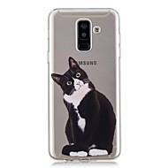 Недорогие Чехлы и кейсы для Galaxy A3(2017)-Кейс для Назначение SSamsung Galaxy A6+ (2018) / A6 (2018) Прозрачный / С узором Кейс на заднюю панель Кот Мягкий ТПУ для A6 (2018) / A6+ (2018) / A3 (2017)