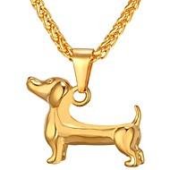 お買い得  -男性用 スタイリッシュ ペンダントネックレス  -  ステンレス鋼 犬 トレンディー, ファッション ゴールド, ブラック, シルバー 55 cm ネックレス ジュエリー 1個 用途 贈り物, 日常
